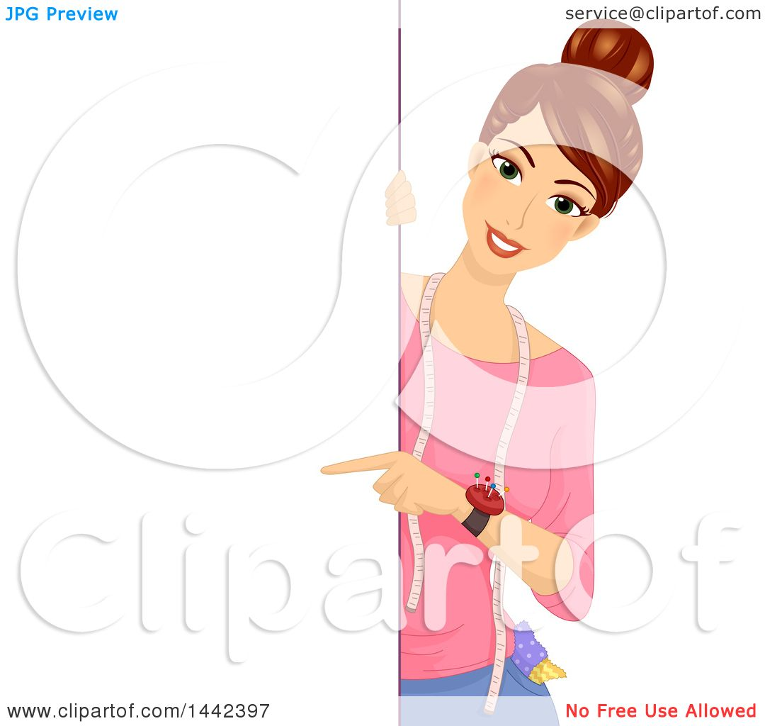 Clipart of a Brunette Tailor Caucasian Woman Pointing Around a.