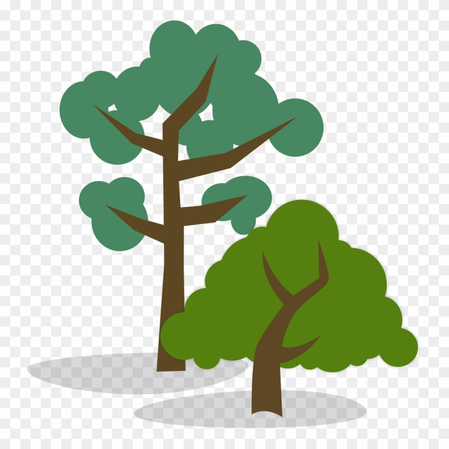 Stylized Illustration Of One Tall And One Short Tree.