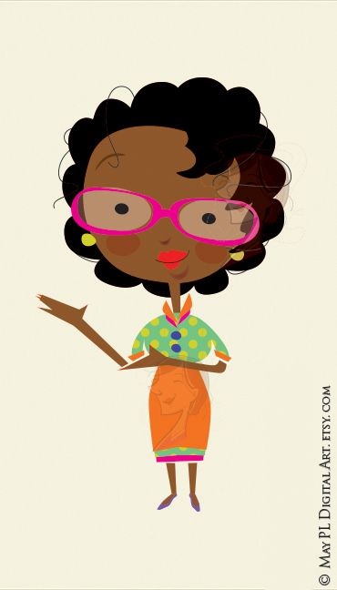 African American woman clipart great as a teacher or presenter, use.
