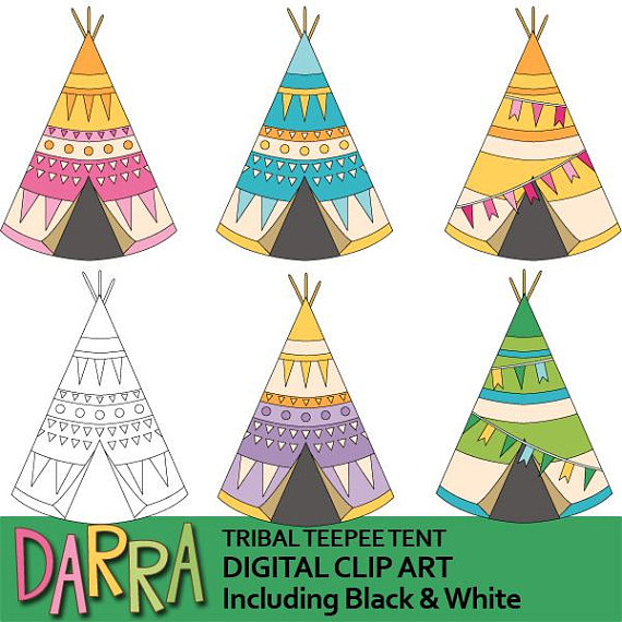 Camping clipart Cute tribal teepeen tent clipart in 2019.