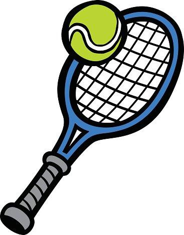 Tennis Racquet & Tennis Ball Clipart Image.