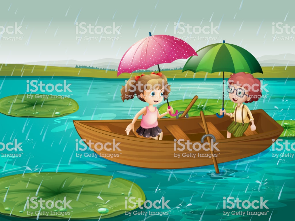 Scene With Boy And Girl Rowing Boat In The Rain Stock.