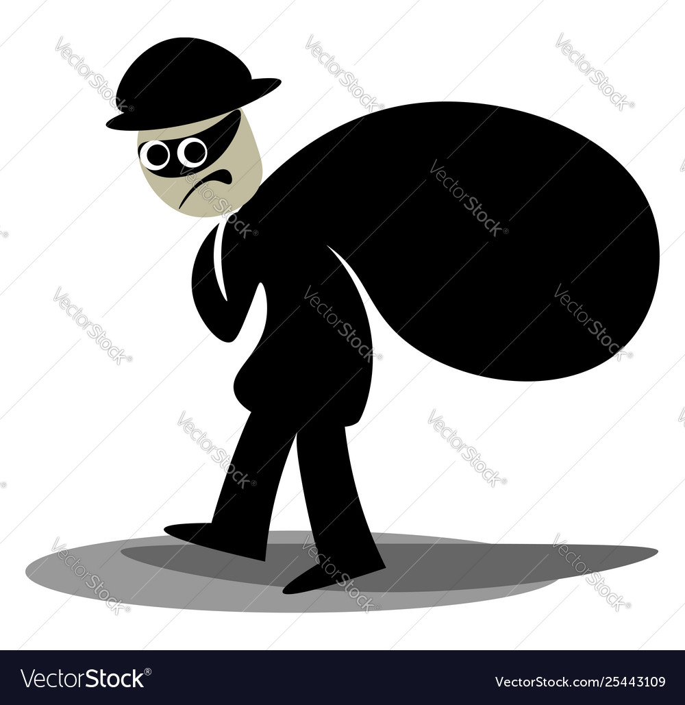 Clipart a thief carrying a black sack of.