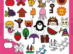 Beginning alphabet clip art A to Z.