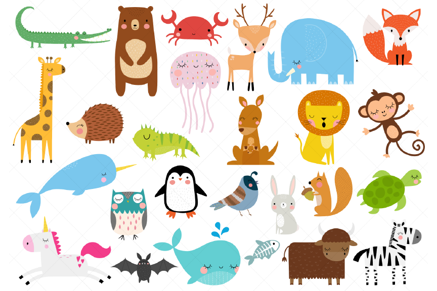 Animals of the Alphabet Clipart, A to Z Animals.