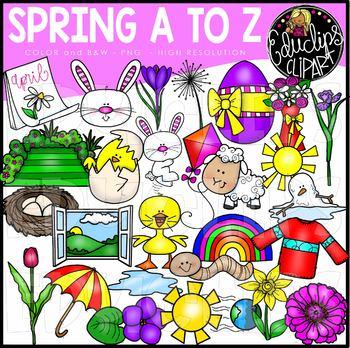 Spring A to Z Clip Art Set {Educlips Clipart}.