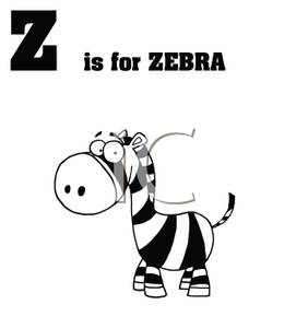 Black and White Z Is For Zebra Card.