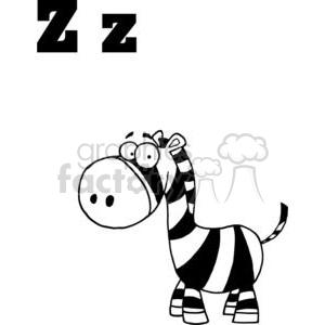 Alphabet Letter Z as in Zebra clipart. Royalty.
