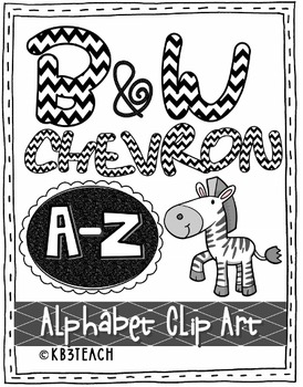 Alphabet Letters Clipart: Black Chevron Zebra Set (Uppercase A.