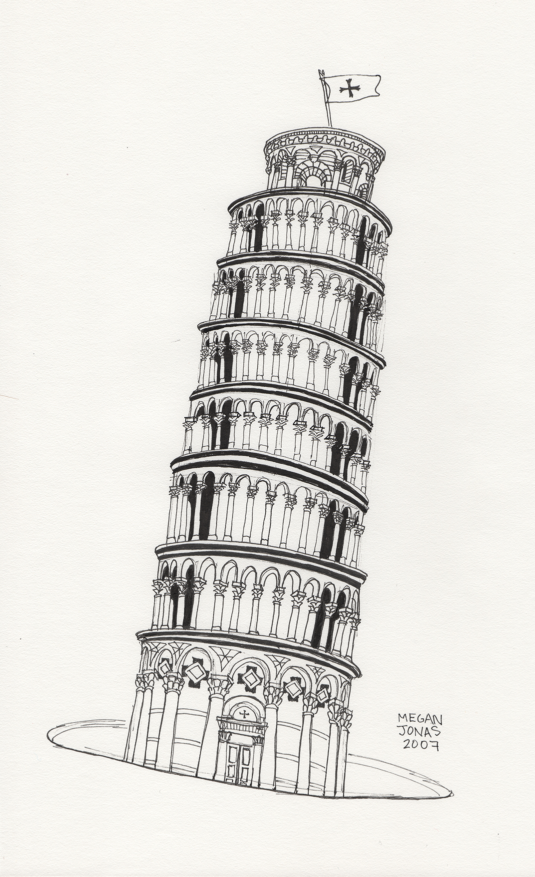 Leaning Tower Of Pisa Drawing.