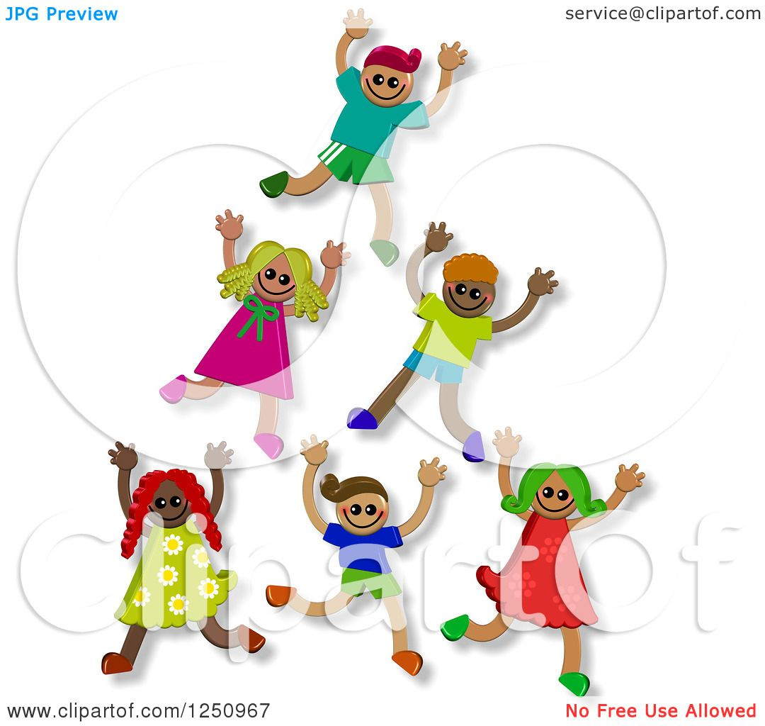 Clipart of a Pyramid or Tower of 3d Diverse Children.