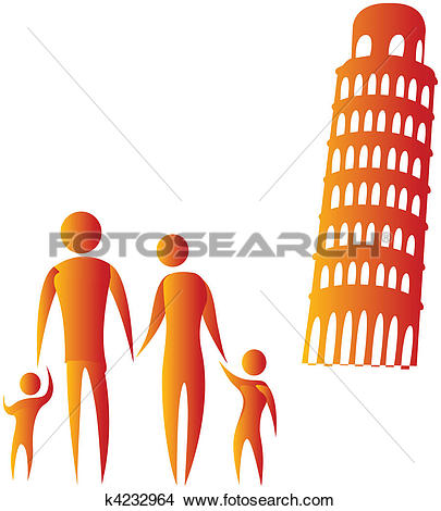 Drawings of human family standing in front of leaning tower of.