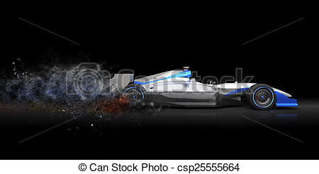 Stock Image of Formula One car with trail of dust csp25555664.