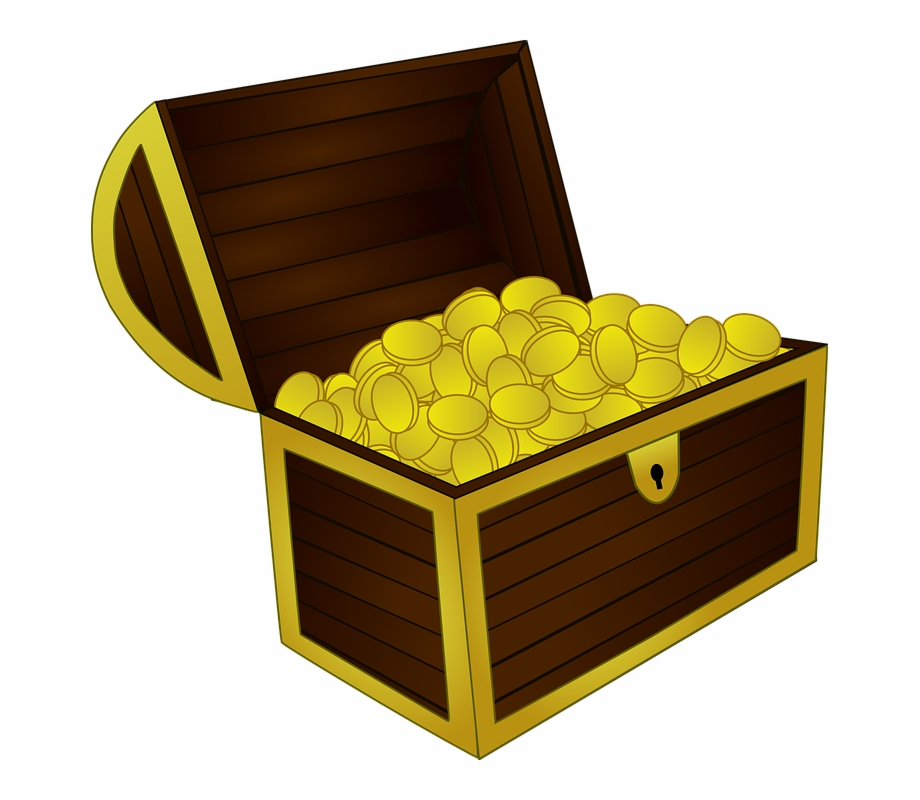 Booty Chest Gold Pirate Treasure Coins.