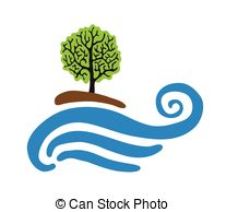 Vector Clipart of Tree near the water.