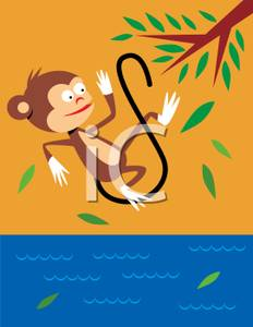 Monkey Falling From a Tree Into Water Clip Art Image.
