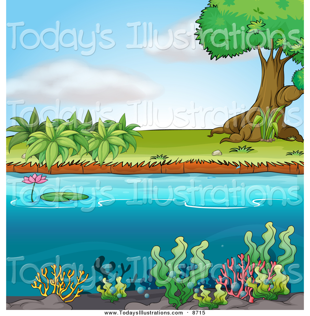 Clipart of Water Plants and Shore with a Tree by colematt.
