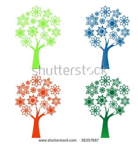Snowflake / Flower Tree 4 Color Choices Stock Vector 36357667.