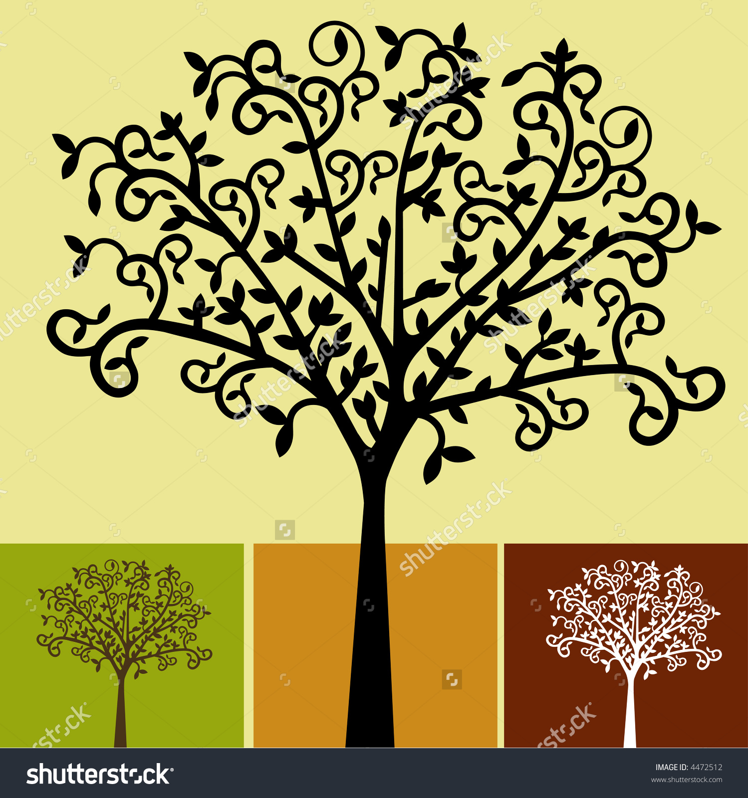 Choices Of Tree Colors Vector.