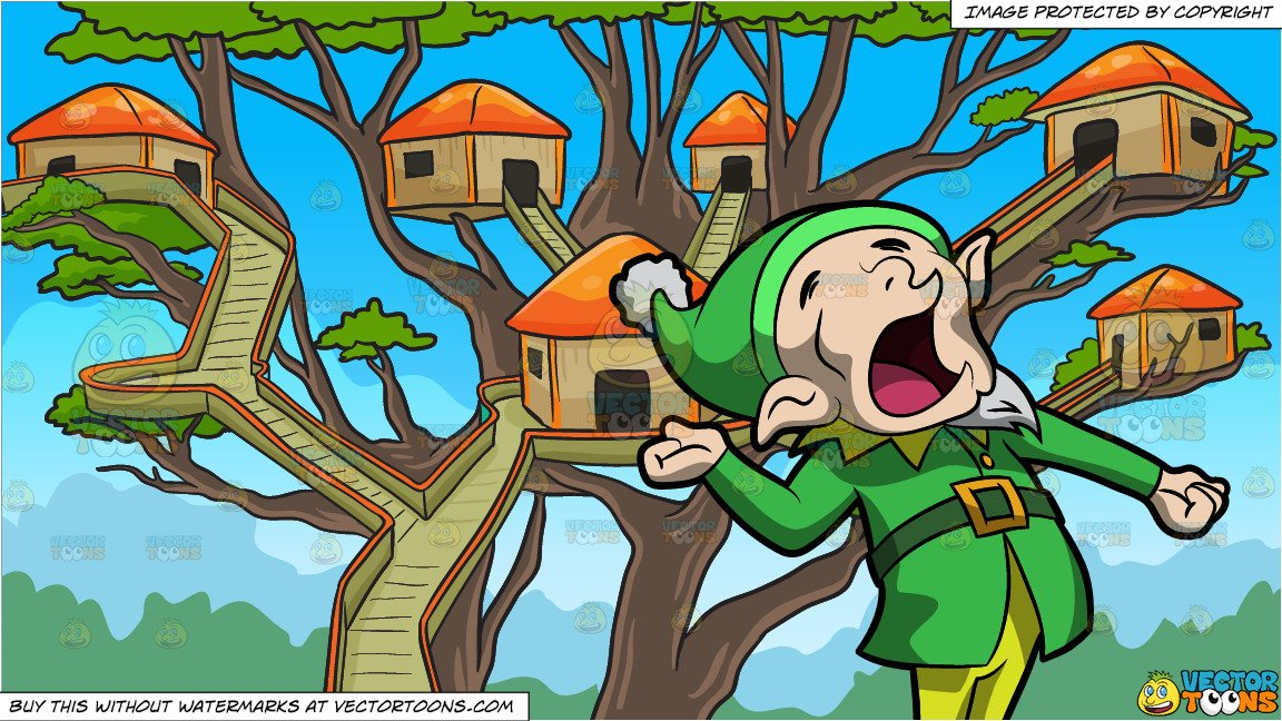A Yawning Elf and A Tree House Village Background.