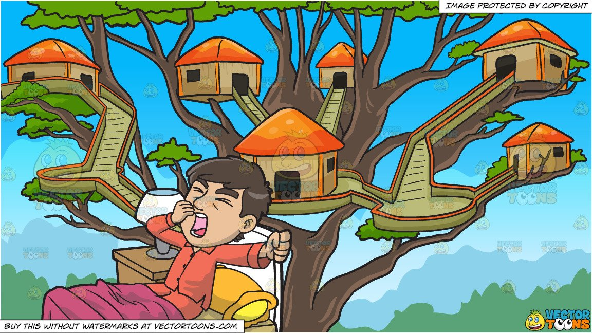 A Yawning Man In Bed and A Tree House Village Background.
