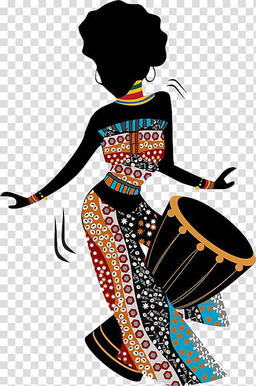 Woman playing goblet drum illustration, African art Painting.