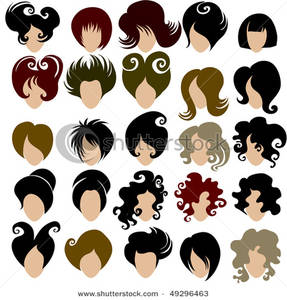 Hair Types Clipart.