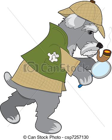 Vector Clipart of Schnauzer Detective.