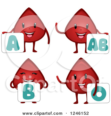 Clipart of a Happy Blood Drop Character with a Type AB Sign.