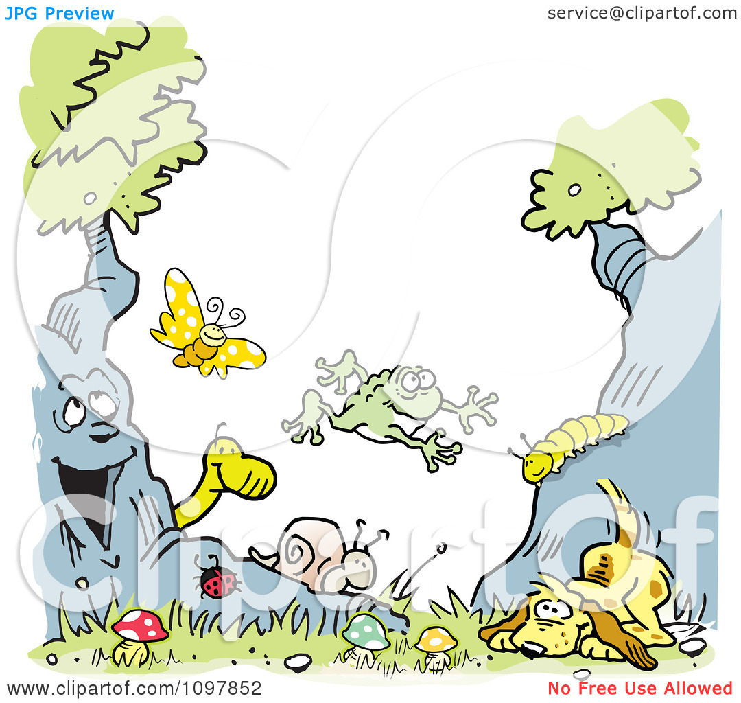 Clipart Boys Type Border Of A Dog Tree Animals And Insects.
