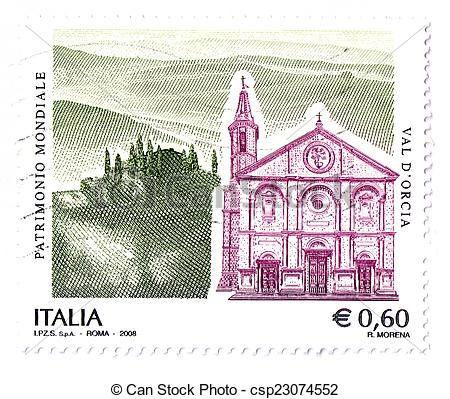 Stock Illustrations of Italian stamp, Val d'Orcia, UNESCO World.