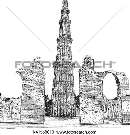 Clip Art of Qutub Minar Vector Illustration.