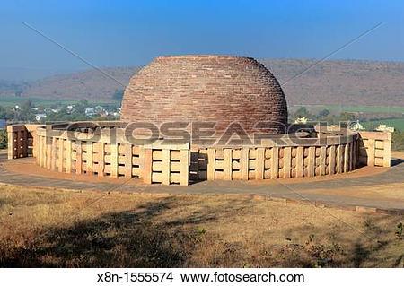 Stock Photo of Buddhist monuments: stupa 3 2nd century BC, UNESCO.