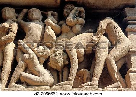 Stock Photography of Erotic sculptures, Khajuraho Group of.