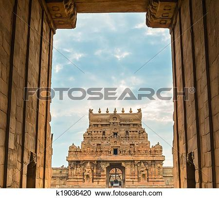 Stock Photography of exit gate Brihadeeswarar great architecture.