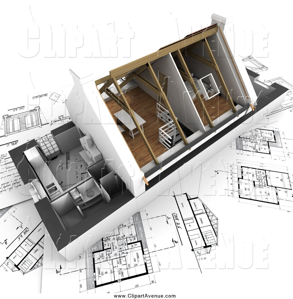 Avenue Clipart of a 3d Home Model with Vaulted Ceilings on.