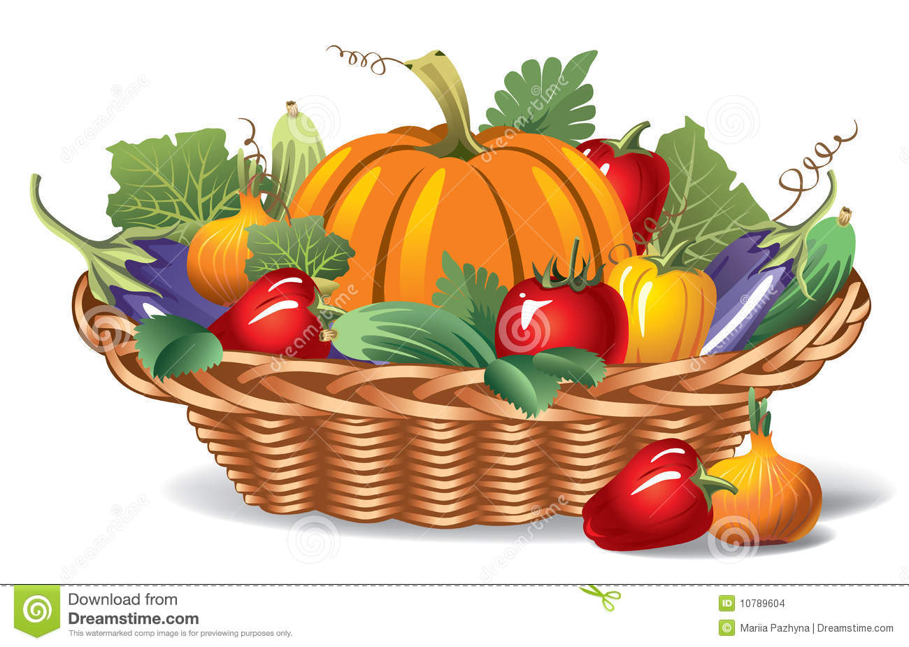 Basket of vegetables clipart.