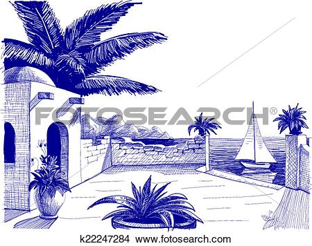Clipart of Sea view from house terrace on the beach sketch.