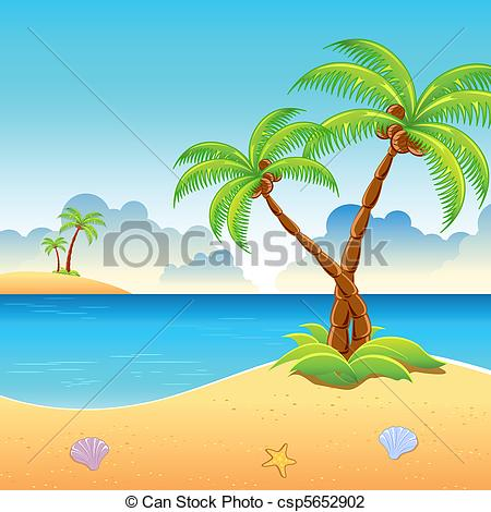 Vector Illustration of Se Beach View.