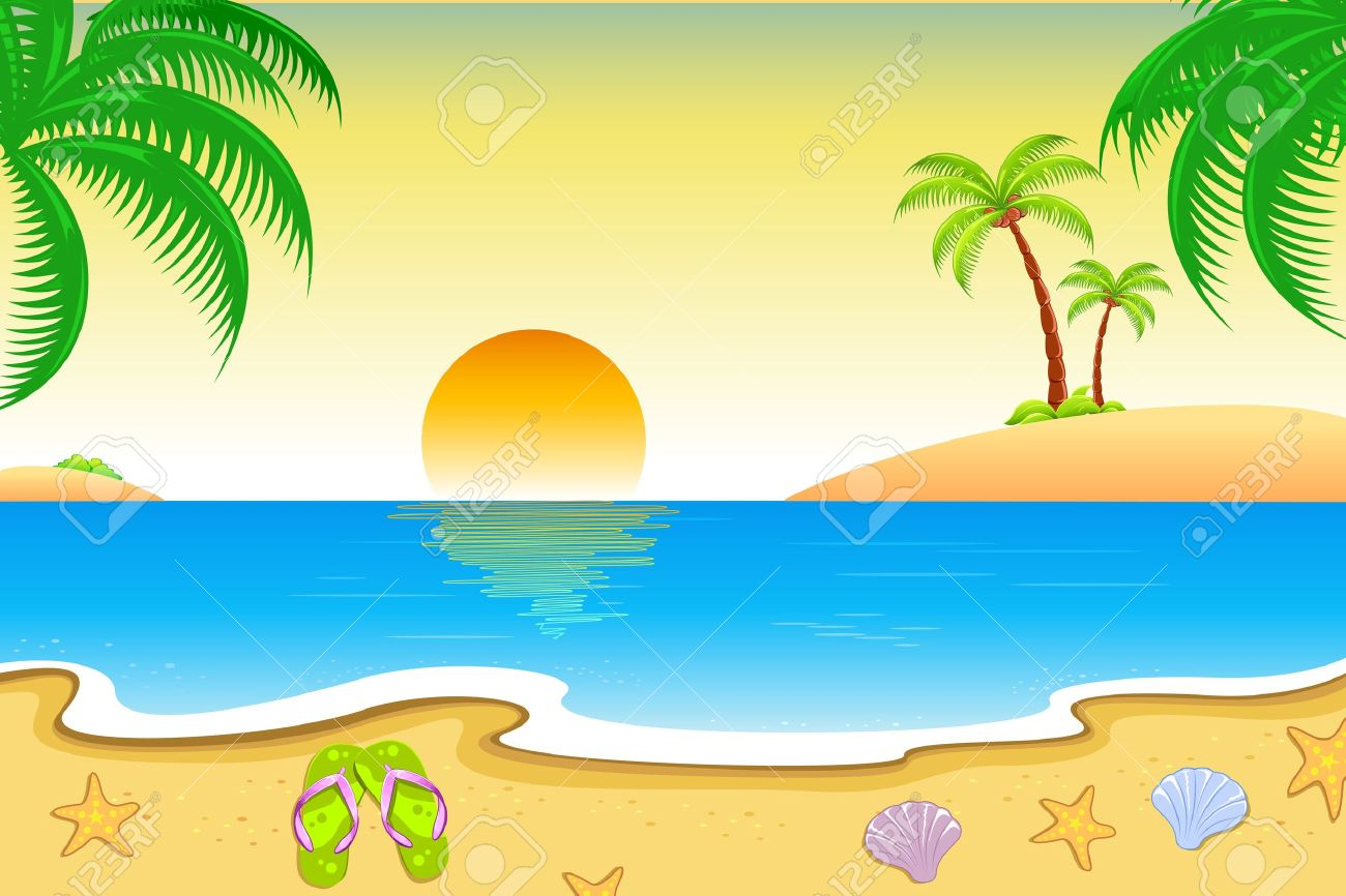Sea beach clipart.