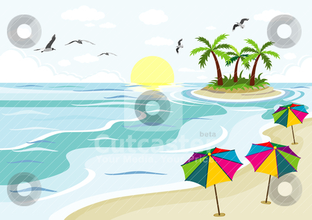 Beach sea and palm trees stock vector.