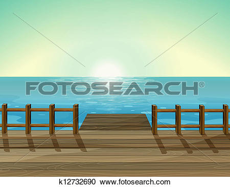 Clipart of A view of a port and the sea k12732690.