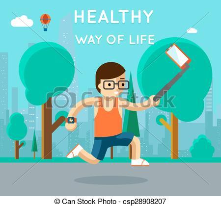 Vector Clipart of Healthy way of life. Sport monopod selfie in.