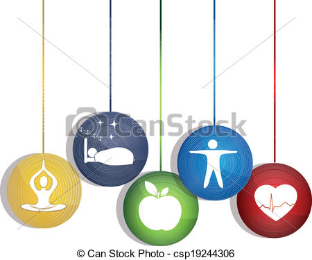 Vector Clipart of Healthy way of life. Ways to maintain a healthy.