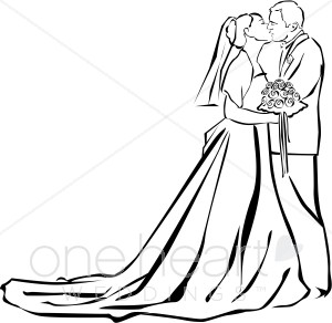 Wedding Ceremony Kiss Clipart.