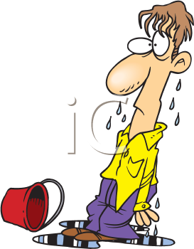 Royalty Free Clipart Image of a Wet Man #165598.