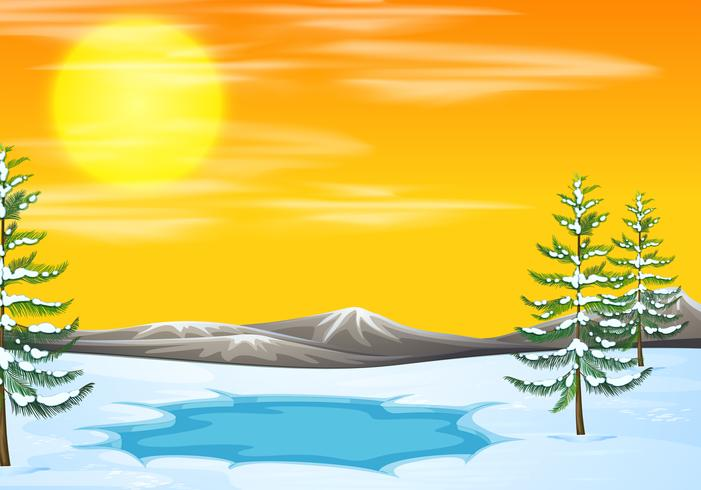 Snow scene at sunset.