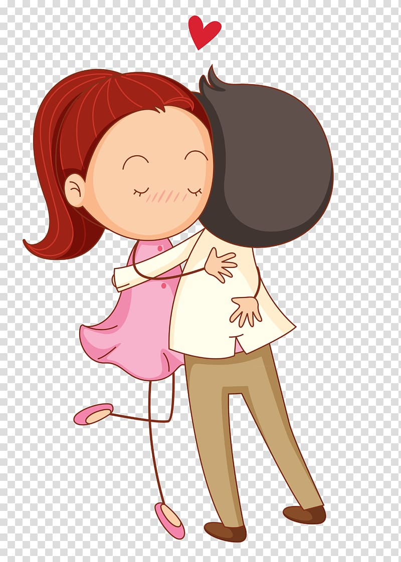 Love Cartoon Romance Hug, Cartoon couple, woman and man.