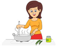 Lady Cooking In Kitchen Clipart.