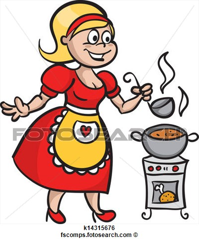 Woman Cooking Clipart.